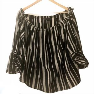 Lane Bryant Stripe Peasant Off Shoulder Blouse